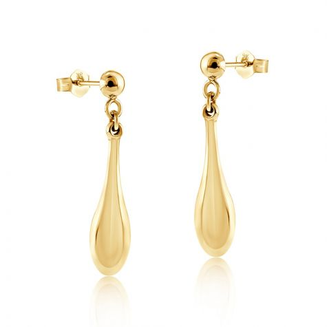 9ct Yellow Gold Classic Drop Earrings - 6mm