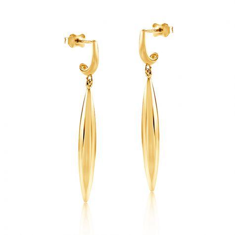 9ct Yellow Gold Modern Drop Earrings - 5mm