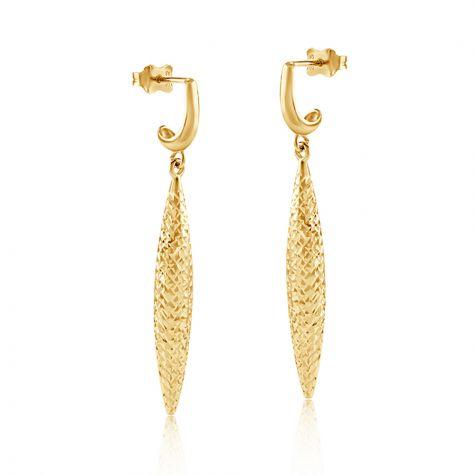 9ct Yellow Gold Diamond Cut Drop Earrings - 5mm
