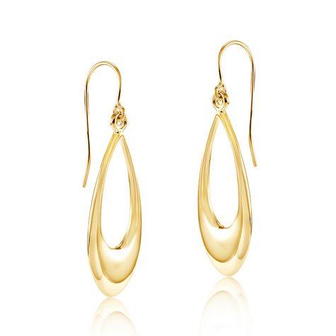 9ct Yellow Gold Open Drop Earrings - 11mm