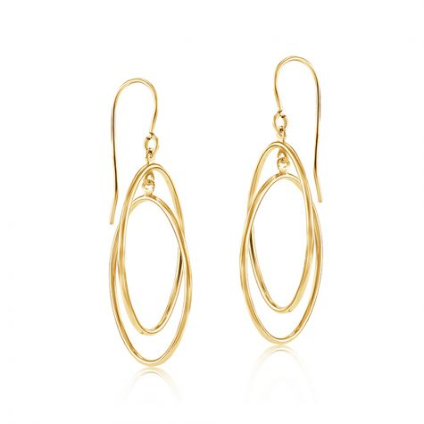 9ct Yellow Gold Entwined Open Oval Drop Earrings - 15mm