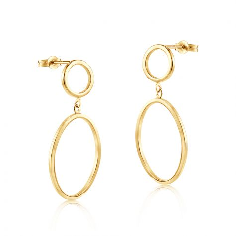 9ct Yellow Gold Circle & Oval Open Drop Earrings - 14mm