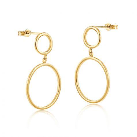 9ct Yellow Gold Circles Open Drop Earrings - 17mm