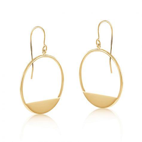 9ct Yellow Gold Circle Open Drop Earrings - 21mm