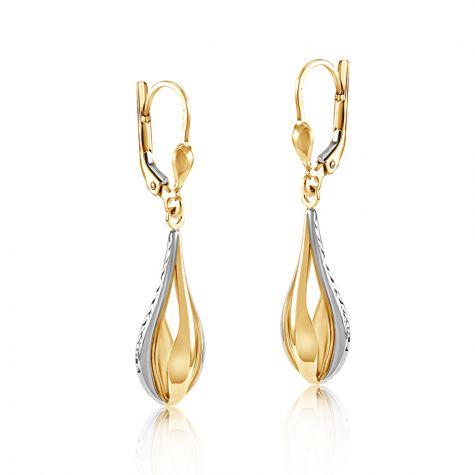 9ct Yellow & White Gold Open Tear Drop Style Earrings - 8mm