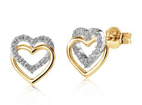 9ct Yellow Gold Double Heart Cubic Zirconia Stud Earrings - 9mm