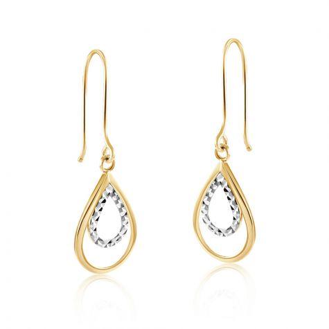 9ct Yellow & White Gold Double Teardrop Hook Earrings - 11mm
