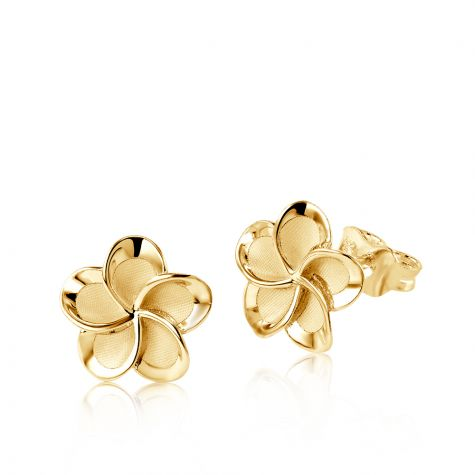 9ct Yellow Gold Frosted Flower Stud Earrings - 10mm