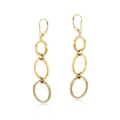9ct Yellow Gold Plain & Moondust Circle Drop Earrings - 19mm