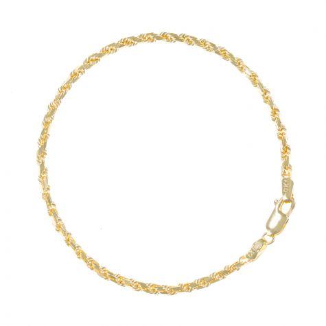 "SOLID 9ct Gold Diamond Cut Rope Bracelet - 3mm - 7.5"" Ladies"