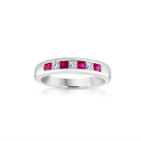 9ct White Gold Princess Cut 0.20ct Diamond & 0.35ct Ruby Eternity Ring