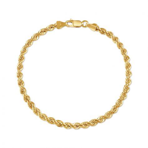 "9ct Yellow Gold Italian Classic Rope Bracelet- 3.8mm -7.5""- Ladies"