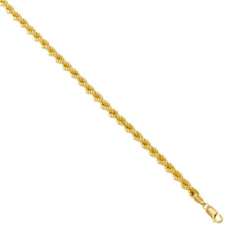 "9ct Yellow Gold Italian Made Classic Rope Chain - 3.8mm - 24"""