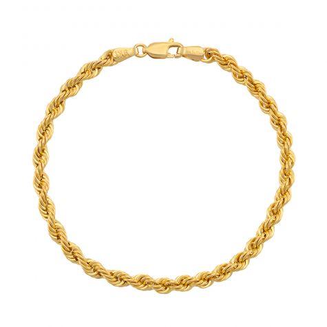 "9ct Yellow Gold Italian Classic Rope Bracelet - 4mm - 7""- Ladies"