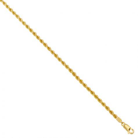 """9ct Yellow Gold Italian Classic Thin Rope Chain - 1.9mm - 22"""""""