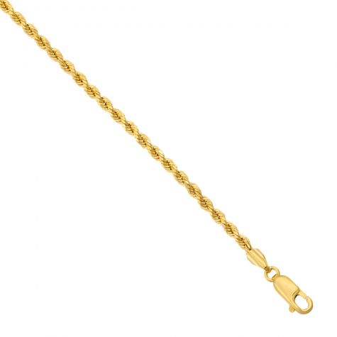 "9ct Yellow Gold Italian Made Diamond Cut Rope Chain - 20"" - 3mm"