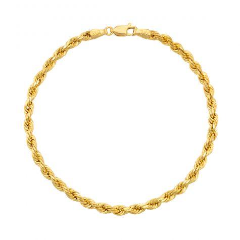 "9ct Yellow Gold Diamond Cut Rope Bracelet - 8.5"" - 4mm - Gents"