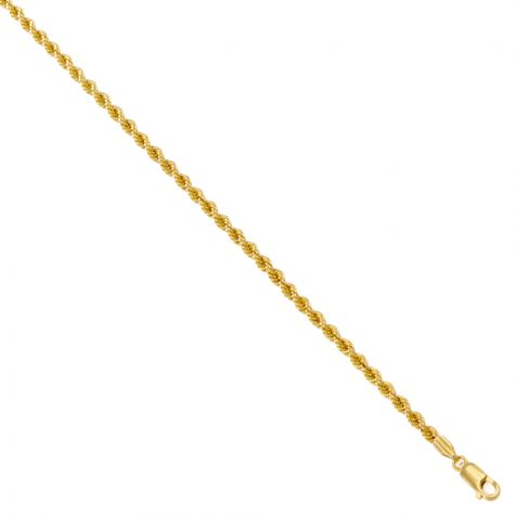 """Semi Solid 9ct Yellow Gold Italian Made Rope Chain - 22"""" - 3mm"""