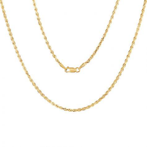 "9ct Yellow Gold Italian Diamond Cut Solid Rope Chain - 2mm - 32"""