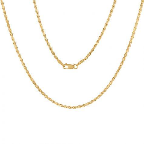 "9ct Yellow Gold Italian Diamond Cut Solid Rope Chain - 2mm - 22"""