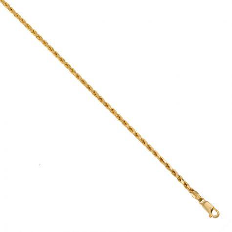 "9ct Yellow Gold Italian Diamond Cut Solid Rope Chain - 3mm - 20"" - 28"""