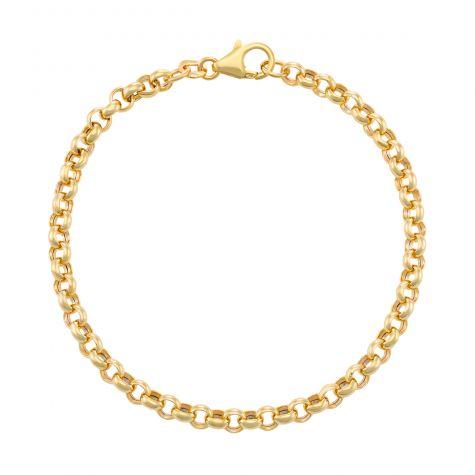 "9ct Gold Italian Tight Link Belcher Bracelet - 4mm - 7.25"" Ladies"