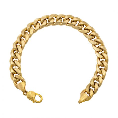 "Huge 9ct Yellow Gold Italian Cuban Bracelet - 11mm - 9"" Extra Long"