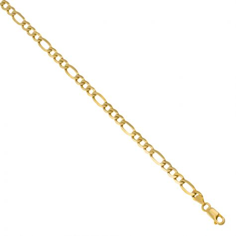 """9ct Yellow Solid Gold Italian Figaro Curb Chain - 5mm - 22"""" - 30"""""""