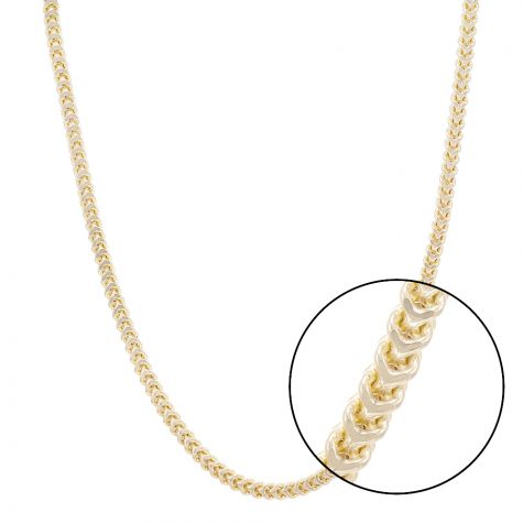 "9ct Yellow Gold Italian Made Franco Foxtail Chain - 22"" - 6mm"