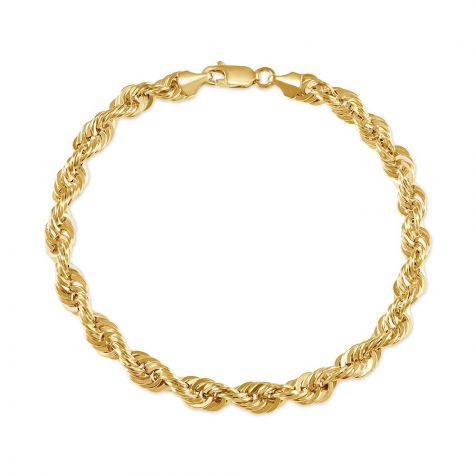"9ct Yellow Gold Italian Classic Rope Bracelet - 8.5""- 6mm - Gents"