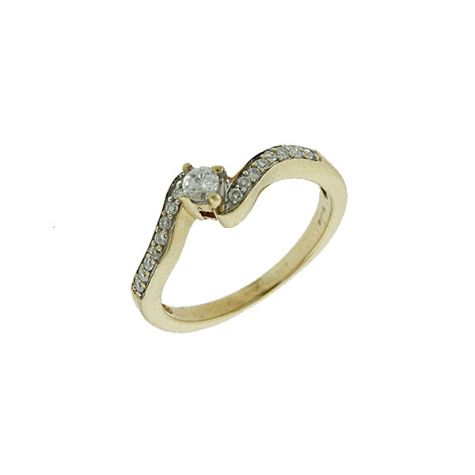 Pre-Owned 9ct Yellow Gold 0.20ct Diamond Wave Engagement Ring