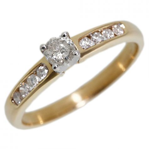 9ct Yellow Gold .33ct Diamond Classic Shoulder Set Engagement Ring