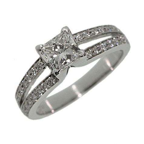 Pre-Owned Platinum 1.33ct Diamond Solid Engagement Ring - Size O