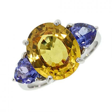 Pre-Owned 18ct White Gold 5.70ct Sapphire &Tanzanite Trilogy Ring