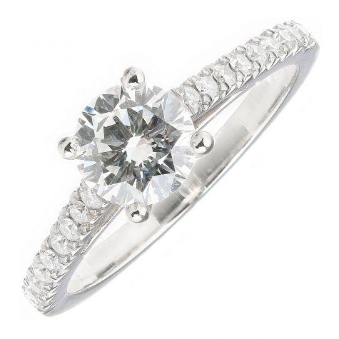 GIA CERTIFIED Platinum 1.36ct Diamond Engagement Ring - Size O
