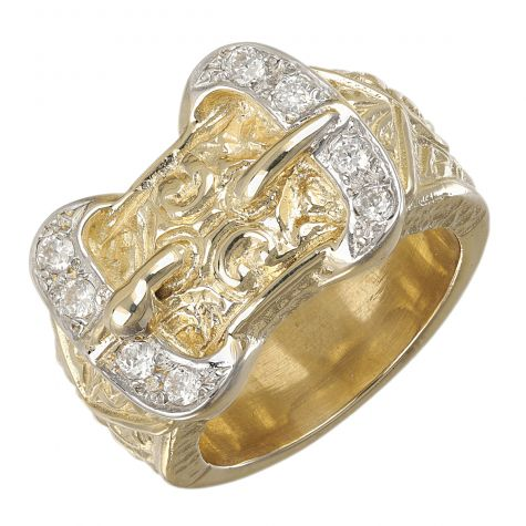 9ct Yellow Gold Cubic Zirconia Solid Double Buckle Ring - Gents