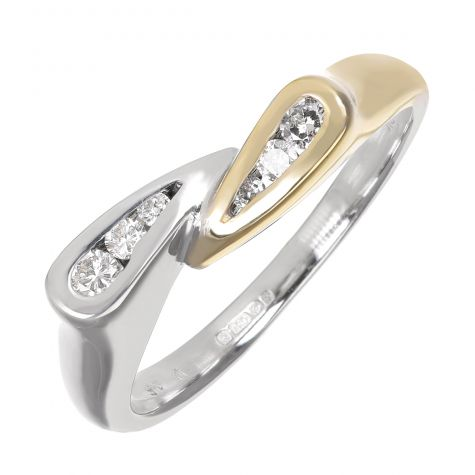 Pre-Owned 18ct Multi-Tone Gold 0.15ct Diamond Dress Ring - Size N