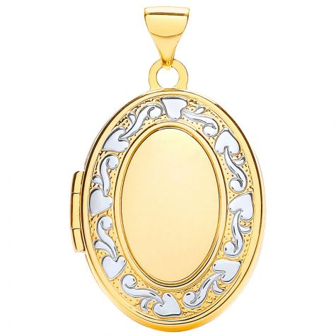9ct Yellow & White Gold Floral Pattern Oval Locket Pendant - 28mm