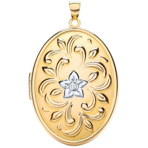 9ct Yellow & White Gold Floral Pattern Oval Locket Pendant - 44mm