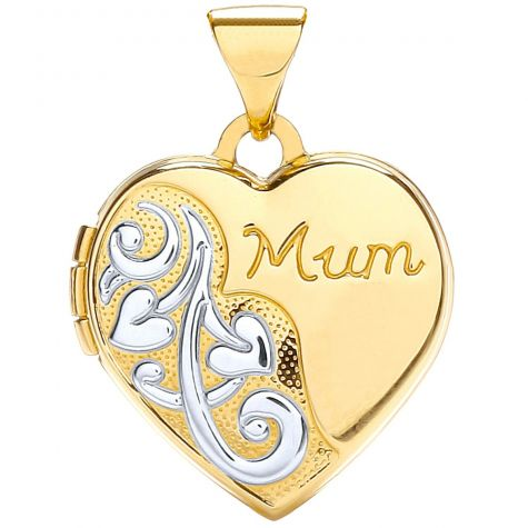 9ct Yellow & White Gold Heart Shaped Mum Floral Locket - 21mm