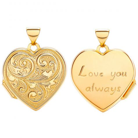 9ct Yellow Gold Heart Shape Love & Floral Design Locket - 24mm