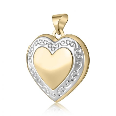 9ct White & Yellow Gold Heart Shape with Edge Design Locket -24mm