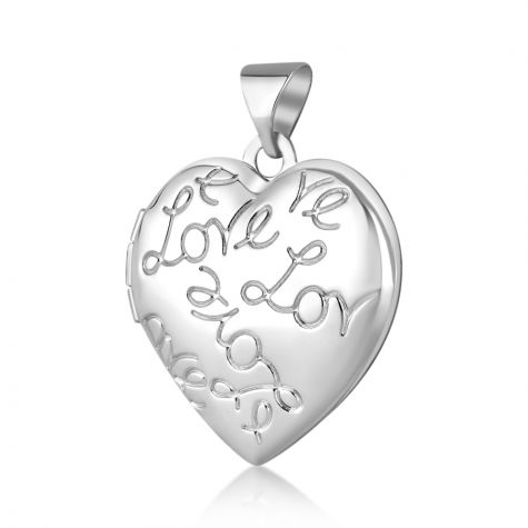 9ct Yellow Gold Love Engraved Heart Shaped Locket Pendant - 18mm