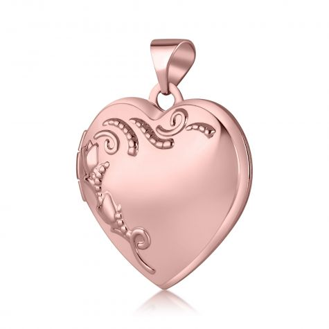 9ct Rose Gold Patterned Heart Shaped Locket Pendant - 18mm