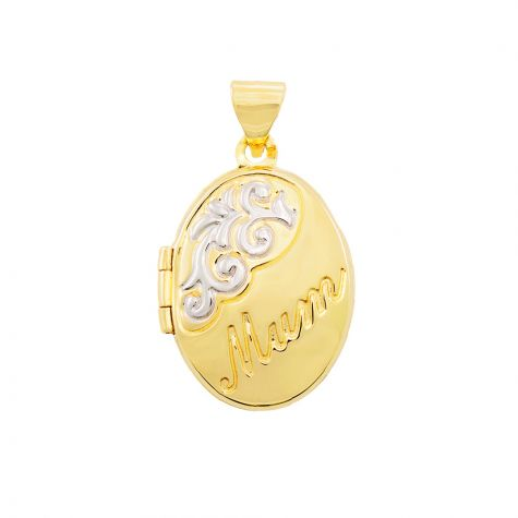9ct Yellow & White Gold Floral Oval Shaped Mum Locket - 24mm