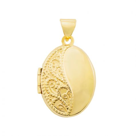 9ct Yellow Gold Oval Shaped Patterned Locket Pendant - 24mm
