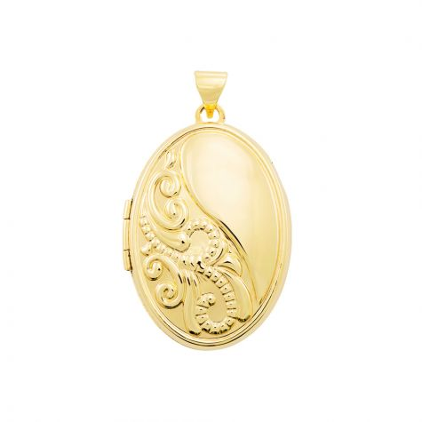 9ct Yellow Gold Oval Half Floral Pattern Locket Pendant - 33mm