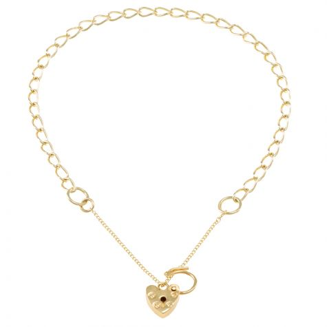 9ct Yellow gold Open Link Curb charm Bracelet - 3.25mm - Ladies