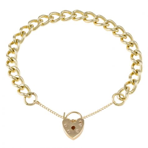 9ct Yellow gold Tight Link Curb charm Bracelet - 7.75mm - Ladies