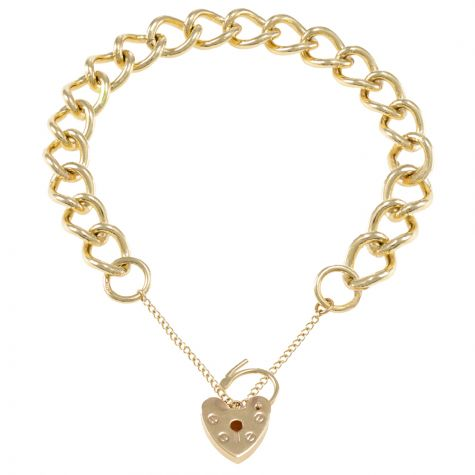9ct Yellow gold Open Link Curb charm Bracelet - 10mm - Ladies